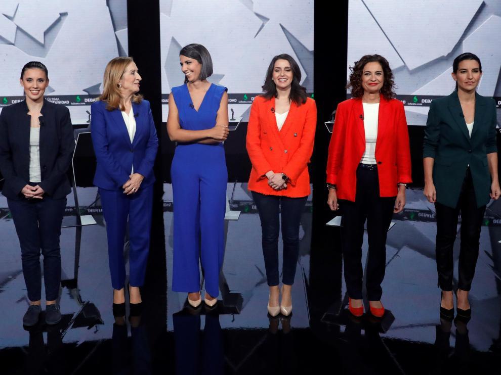 Las dirigentes de los principales partidos con representación parlamentaria, en un debate en femenino