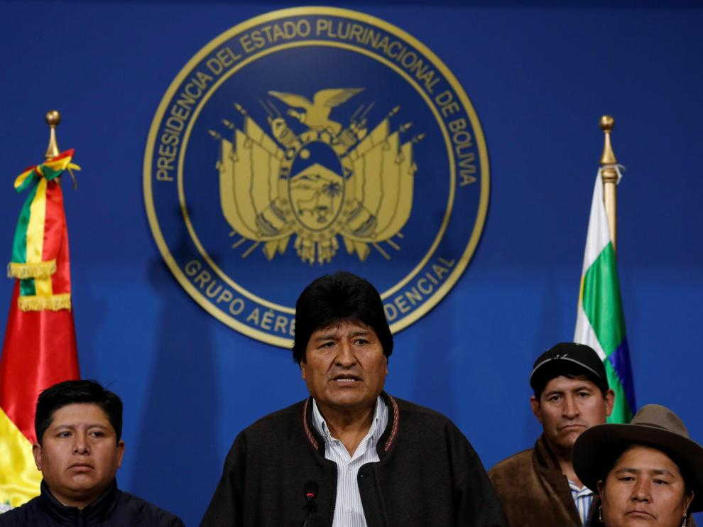 Evo Morales, durante su rueda de prensa este domingo en El Alto.
