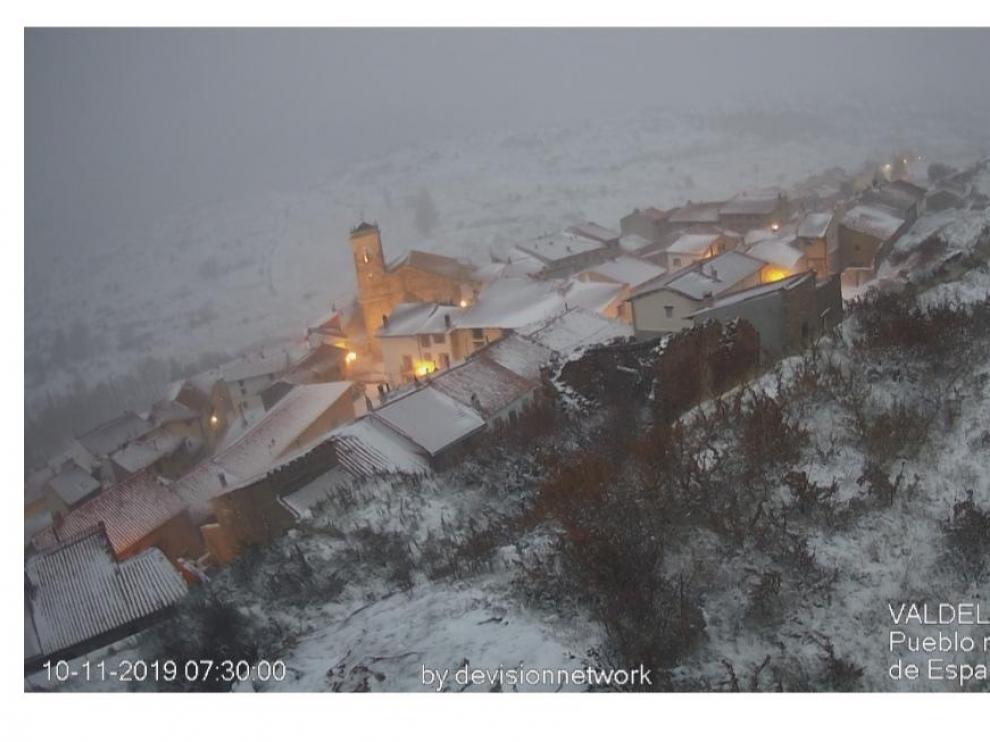 Imagen de Valdelinares completamente nevado.