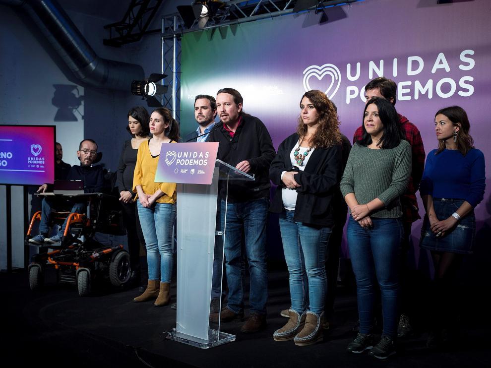 Pablo Iglesias y otros representantes de Unidas Podemos tras los resultados electorales.