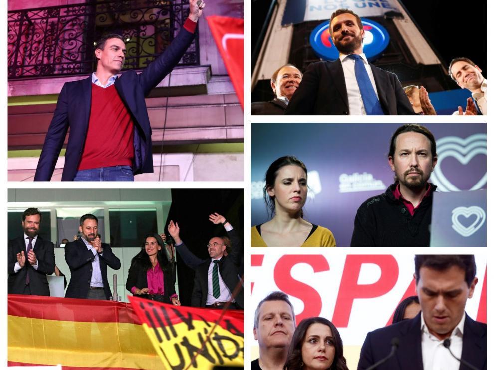 Representantes del PSOE, Vox, , PP, Unidas Podemos y Cs tras el escrutinio