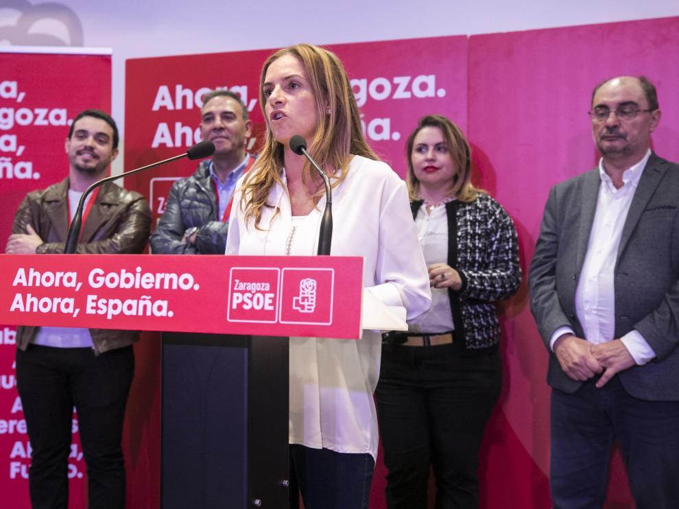 SEDE DEL PSOE ( ZARAGOZA ) / NOCHE ELECTORAL / 10/11/2019 / FOTO : OLIVER DUCH [[[FOTOGRAFOS]]]