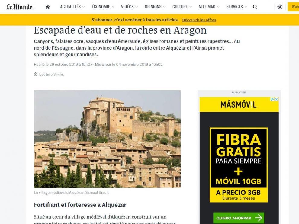 Artículo que 'Le Monde' dedica a una ruta entre Alquézar y Laspuña.