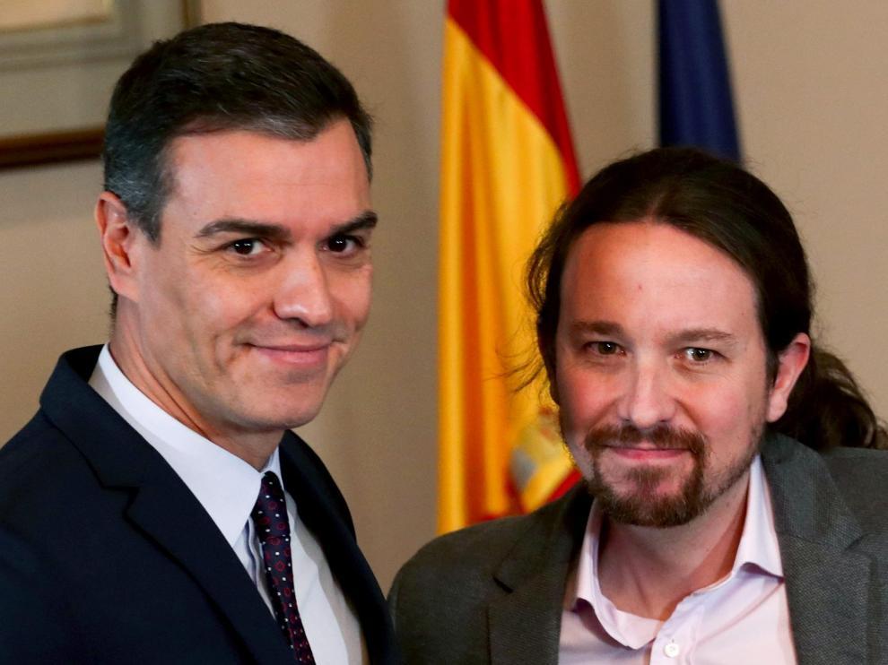 Sánchez e Iglesias en su comparecencia de este martes