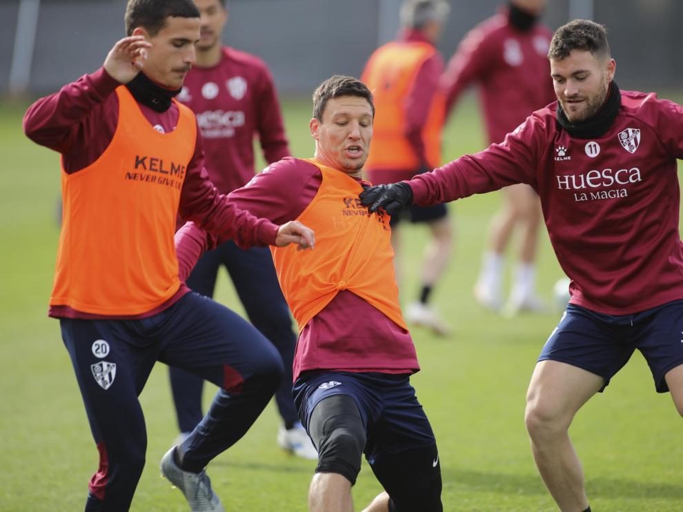 Imagen del entrenamiento de la SD Huesca este jueves.