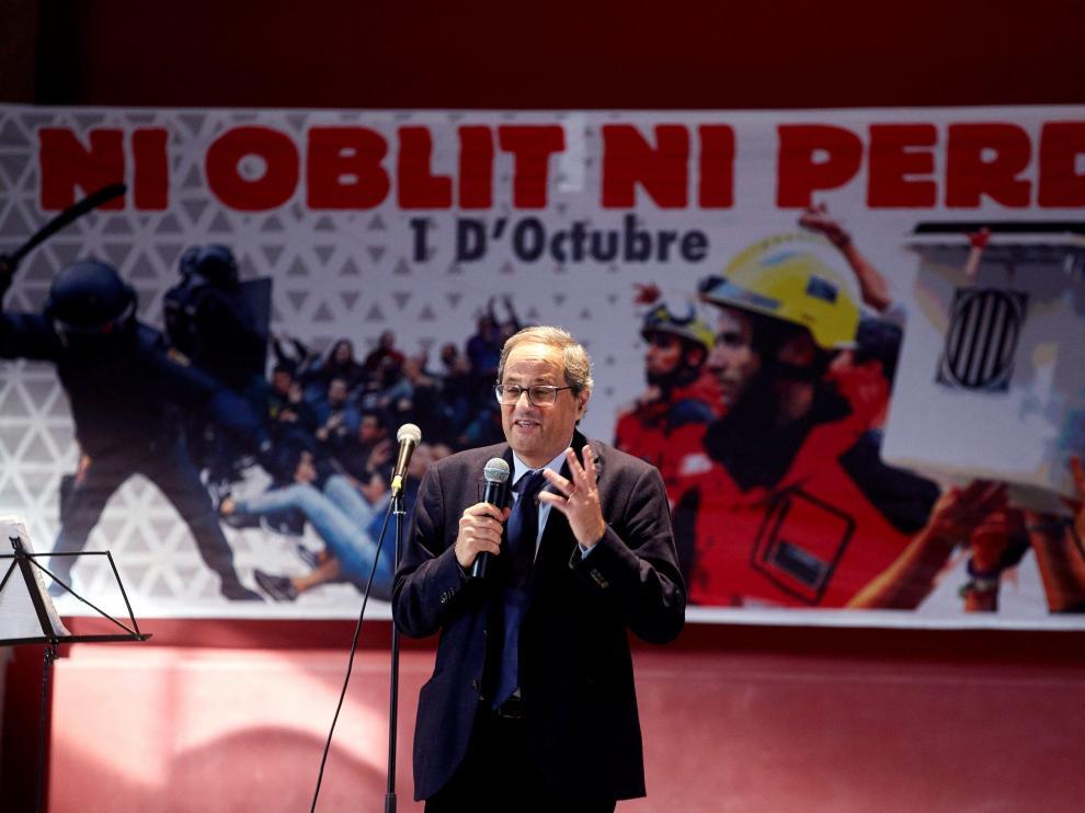 El presidente de la Generalitat, Quim Torra, durante su comparecencia en el 'almuerzo amarillo'.