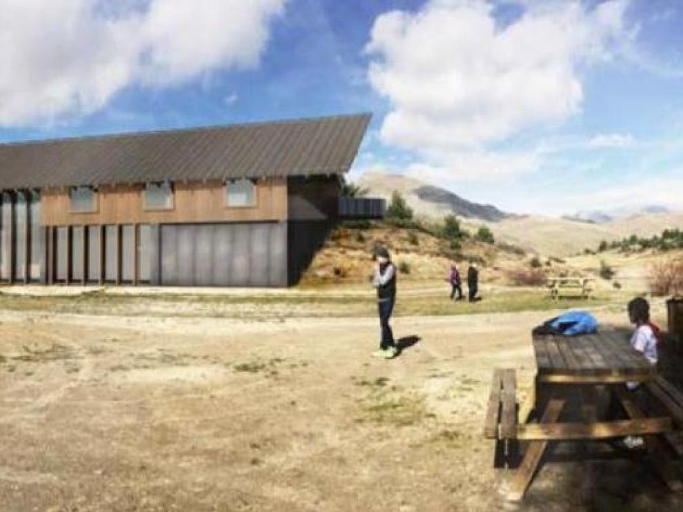 Reproducción virtual del refugio de montaña que se proyecta junto al embalse de Tramacastilla de Tena.