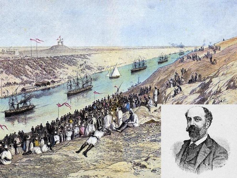 Un dibujo de la época del estreno del Canal junto al retrato de Eusebio Blasco.