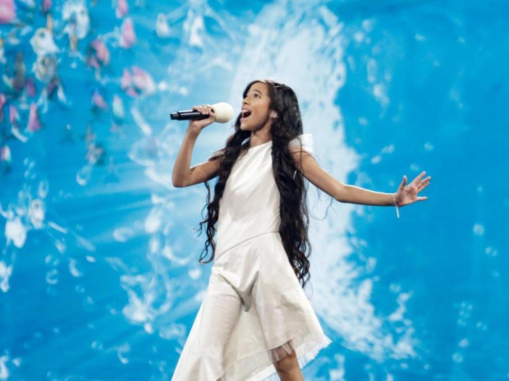 Melani, en uno de los ensayos de Eurovision Junior.
