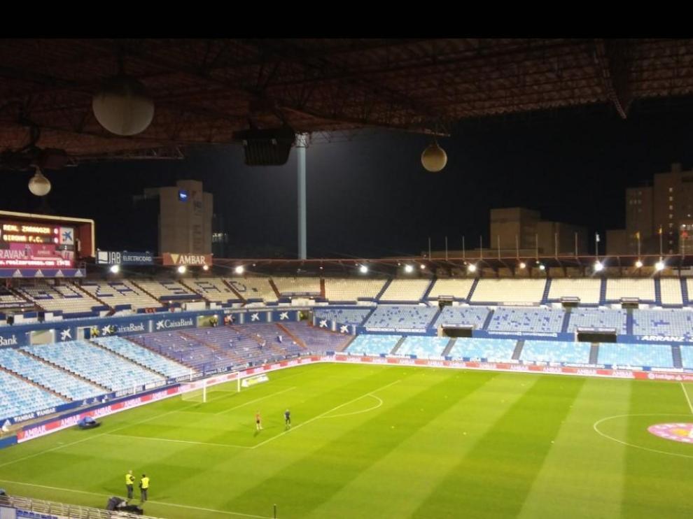 La Romareda, una hora antes del envite entre el Real Zaragoza y el Girona.