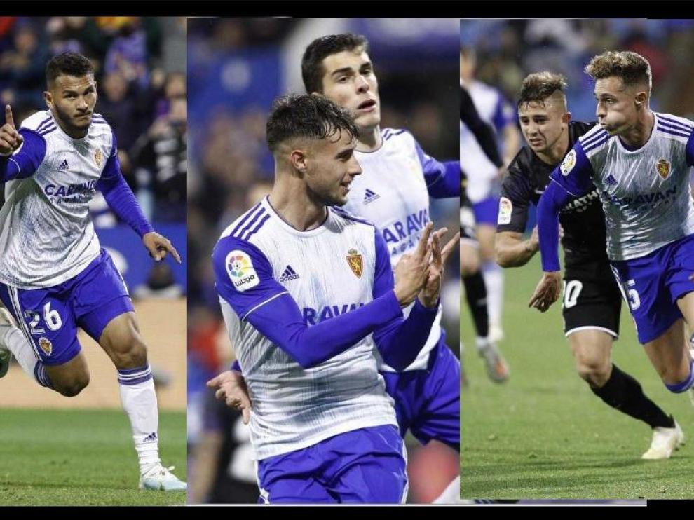 Suárez, Puado, Soro y Blanco, los cuatro 'baby delanteros' del Real Zaragoza ante el Girona.