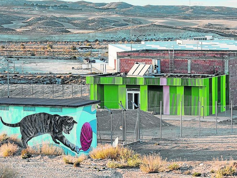 El nuevo CMPA, sin estrenar. La primera fase de la futura perrera de Zaragoza, en el polígono Empresarium, ni siquiera se ha inaugurado por deficiencias. El proyecto completo permitirá alojar hasta 400 perros y 100 gatos.