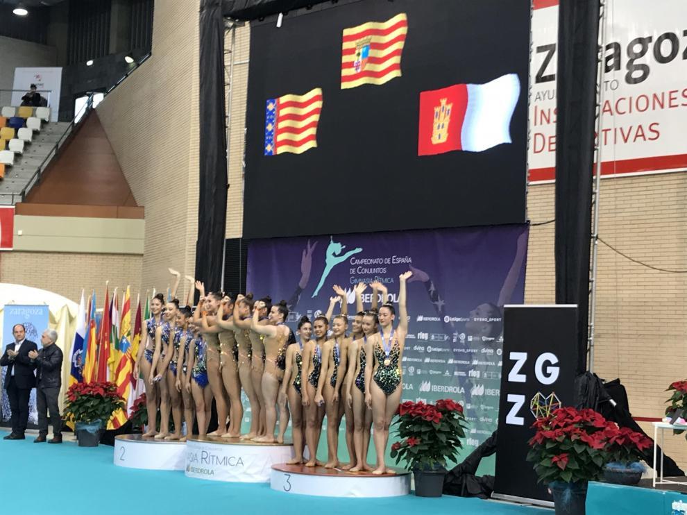 El Club Escuela Gimnasia Rítmica de Zaragoza en lo más alto del podio de categoría sénior.