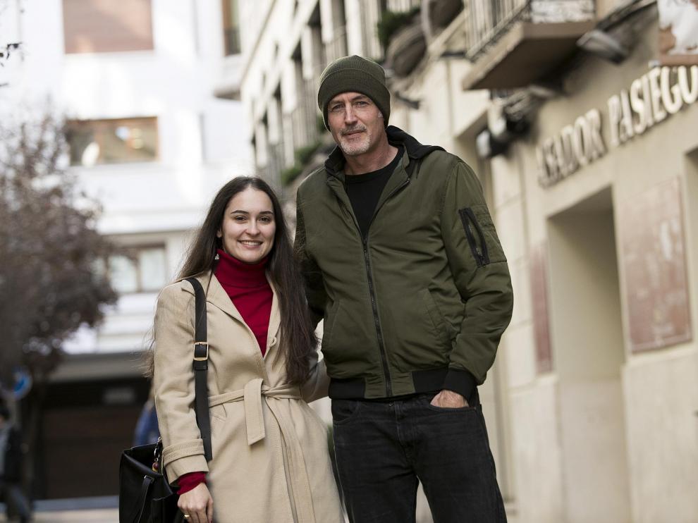 Mercedes Fisteus y José Ángel Mañas, fotografiados hace unos días en Zaragoza