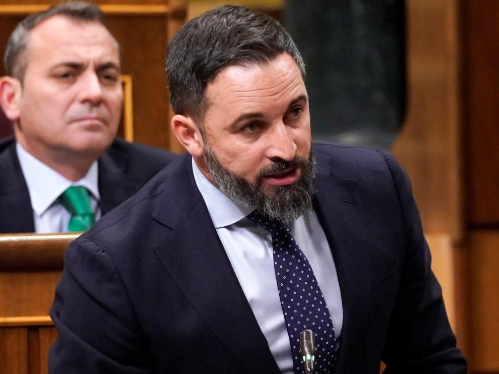 Santiago Abascal, leader of the far-right party Vox, takes oath during the first session of the Parliament following a general election in Madrid, Spain December 3, 2019. REUTERS/Juan Medina [[[REUTERS VOCENTO]]] SPAIN-POLITICS/