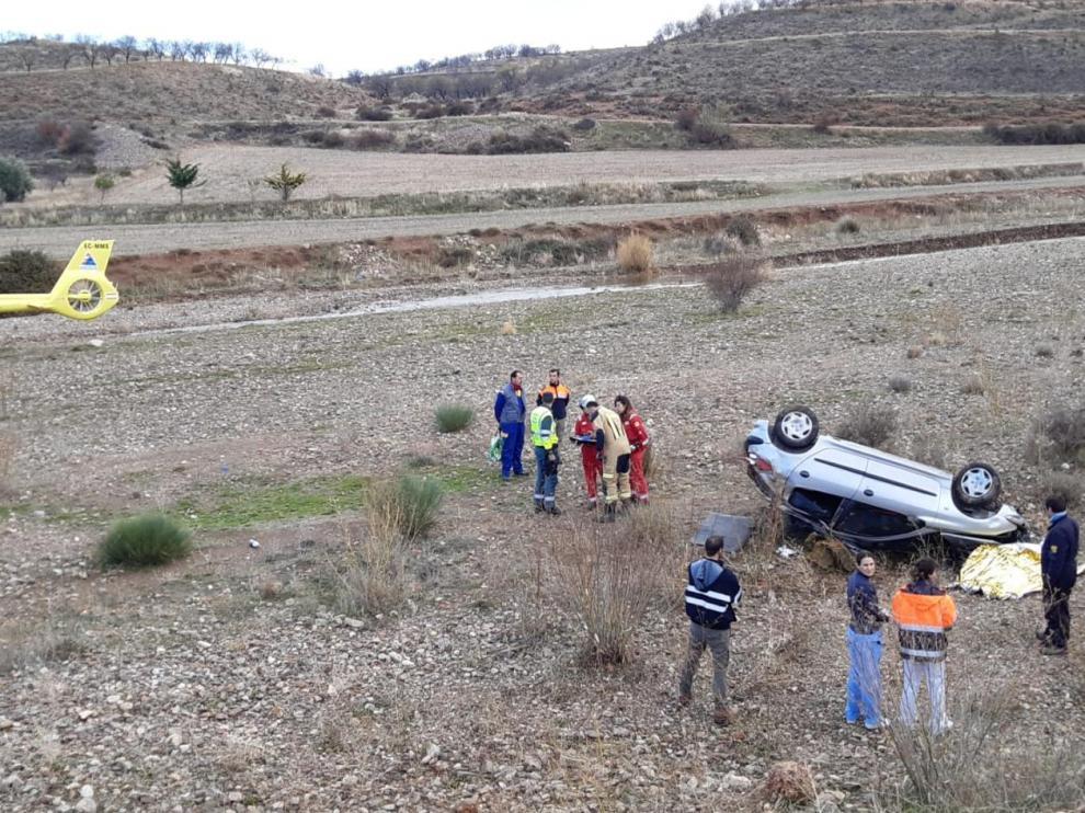 El helicóptero del 112 se desplazó al lugar del accidente, pero nada se pudo hacer por la víctima.