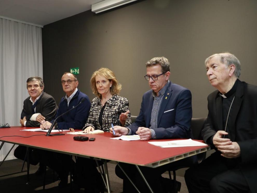 Comparecencia celebrada este miércoles en el Museo de Lérida por las autoridades civiles y religiosas catalanas.