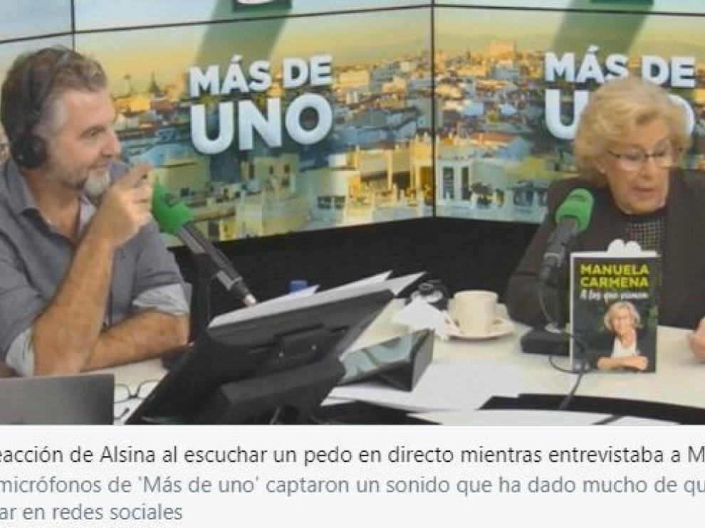 Momento de la entrevista de Alsina a Carmena.