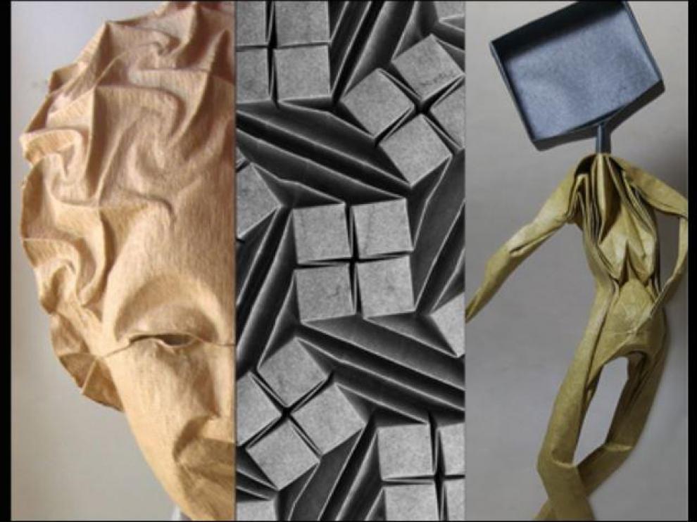 Imagen que ilustra el cartel de la exposición 'La geometría de la expresión' en la Escuela Museo Origami Zaragoza