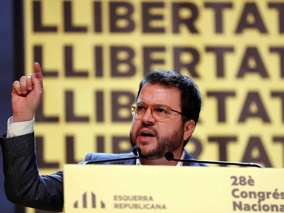 Pere Aragonès, durante su intervención en el congreso nacional de ERC.
