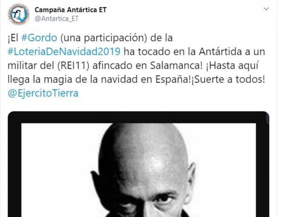 Captura del tuit publicado por la Campaña Antártica del Ejército de Tierra que anunciaba el premio..