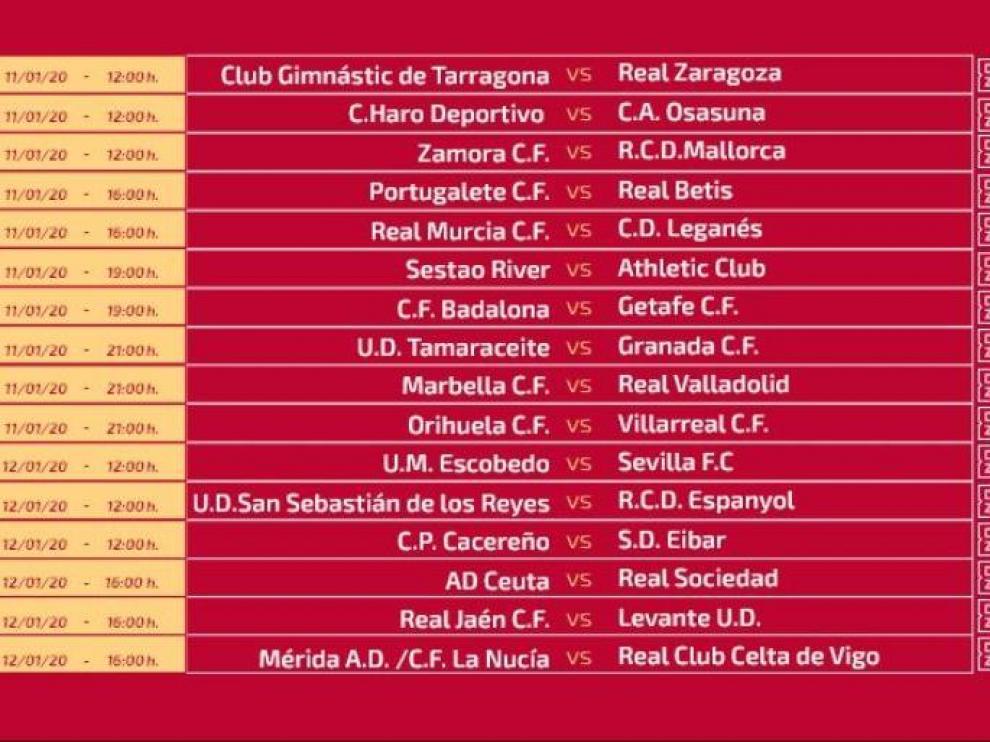 Horarios de las 16 eliminatorias de Copa del Rey que ha dado a conocer la RFEF en la mañana del lunes.