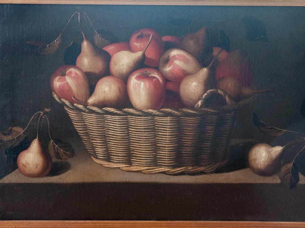 'Cesta con manzanas y peras', de Bernardo Polo, mide 47 por 74 centímetros