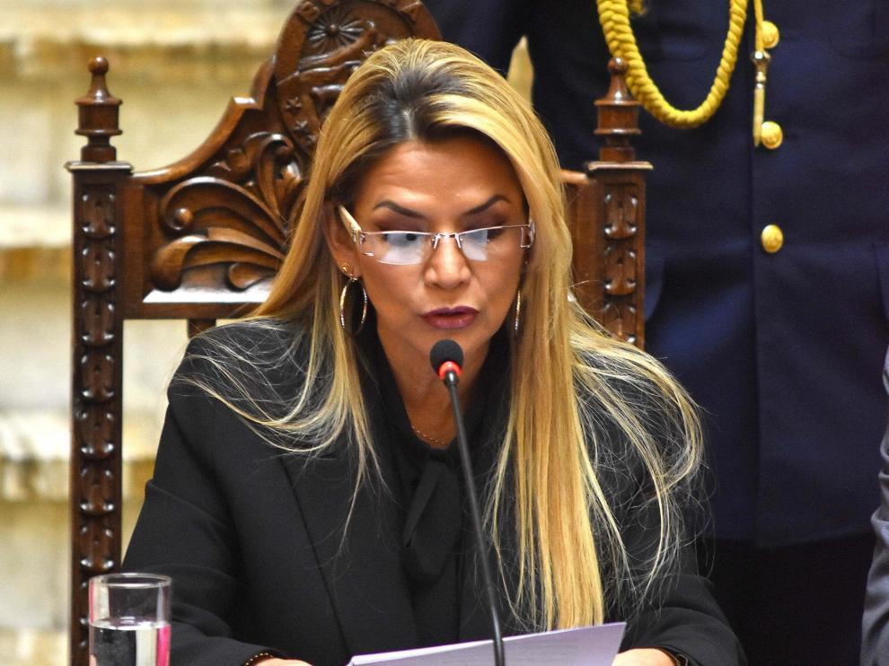 La presidenta de Bolivia, en el acto donde declaraba persona non grata a varios diplomáticos españoles.