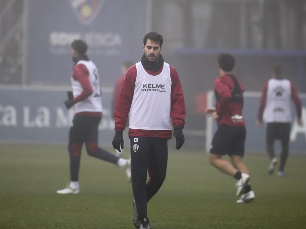 Pablo Insua, durante el entrenamiento matinal de este miércoles.