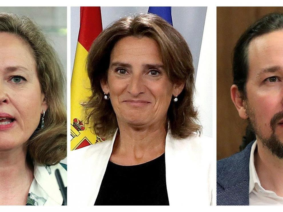 Carmen Calvo, Nadia Calviño, Teresa Ribera y Pablo Iglesias
