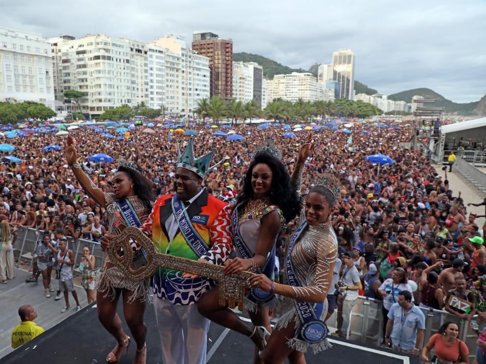 Espectáculo de apertura de los carnavales de Río de Janeiro.