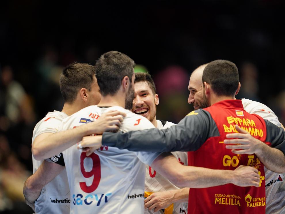 La Selección Española celebrando la victoria de este sábado contra Alemania.