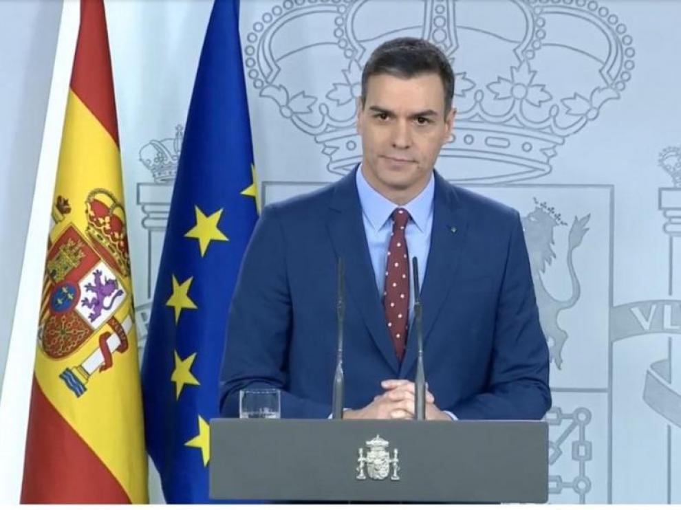 Pedro Sánchez, en su comparecencia de este domingo.