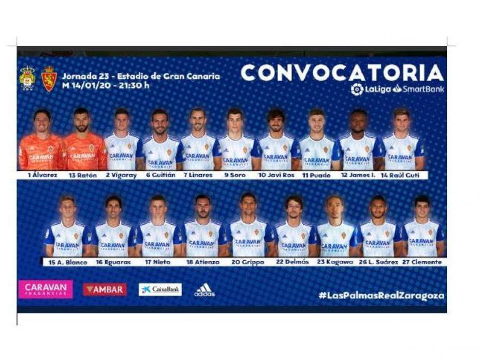 Lista de convocados del Real Zaragoza para el viaje a Las Palmas, con los 19 disponibles incluidos.