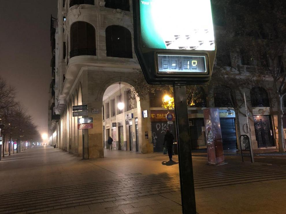 Temperaturas por debajo de los cero grados esta madrugada en Zaragoza.