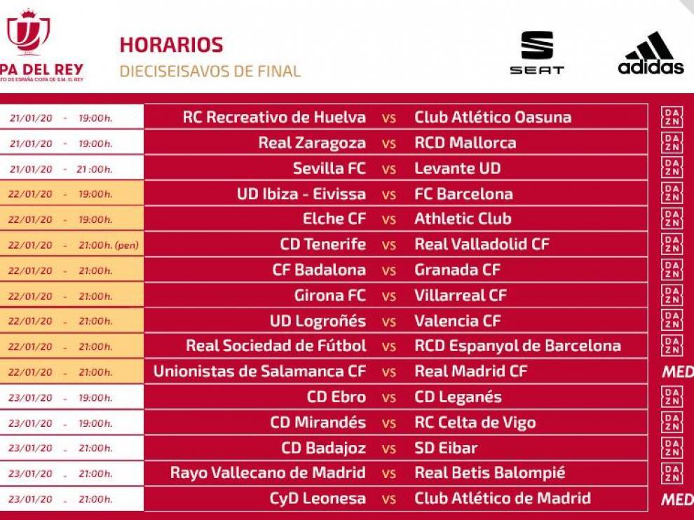 Horarios y televisiones de los dieciseisavos de la Copa del Rey.