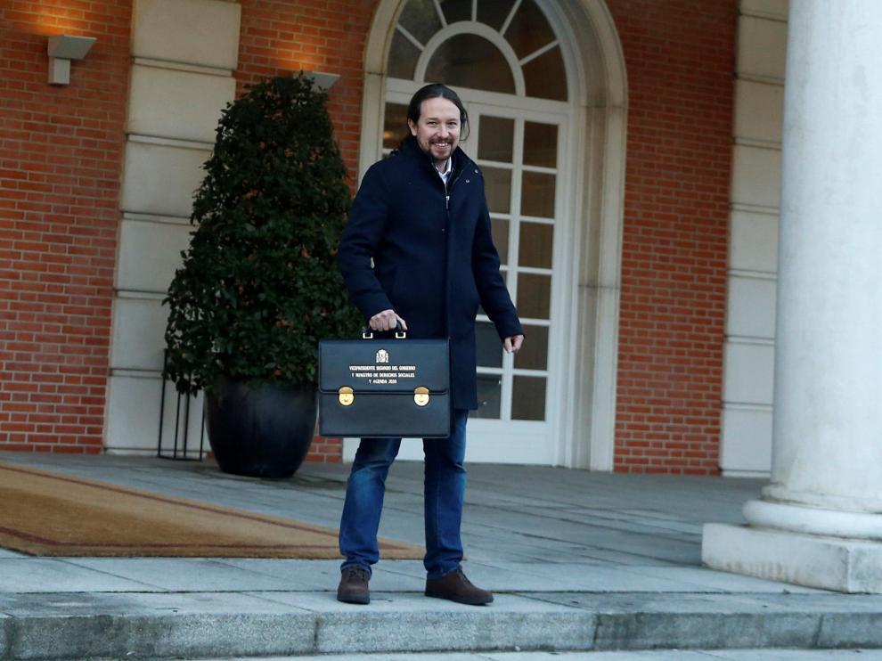 Pablo Iglesias, en la Moncloa, justo antes de su primer Consejo de Ministros.