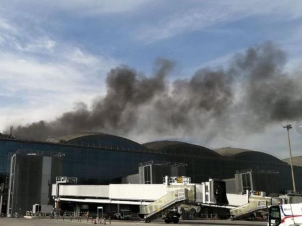 Incendio en el aeropuerto de Alicante.