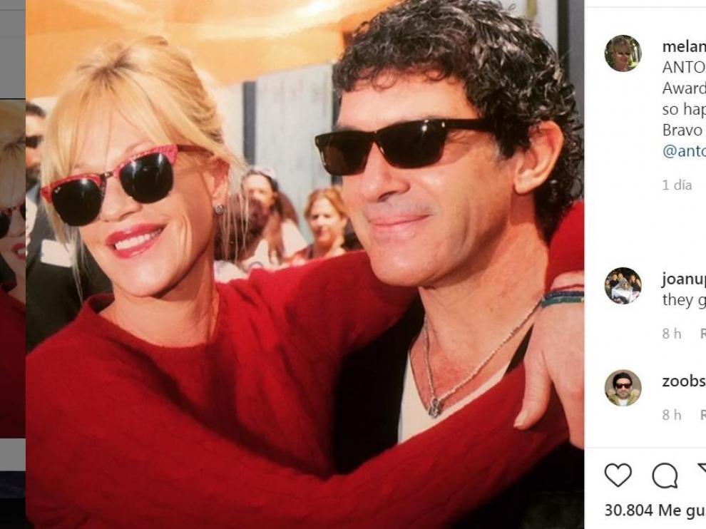 Mensaje publicado por la actriz Melanie Griffith en su cuenta de Instagram.