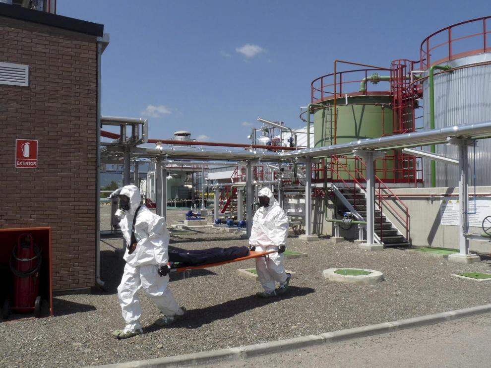 Imagen del simulacro por una amenaza química que se llevó a cabo hace unos meses en Sabiñánigo.