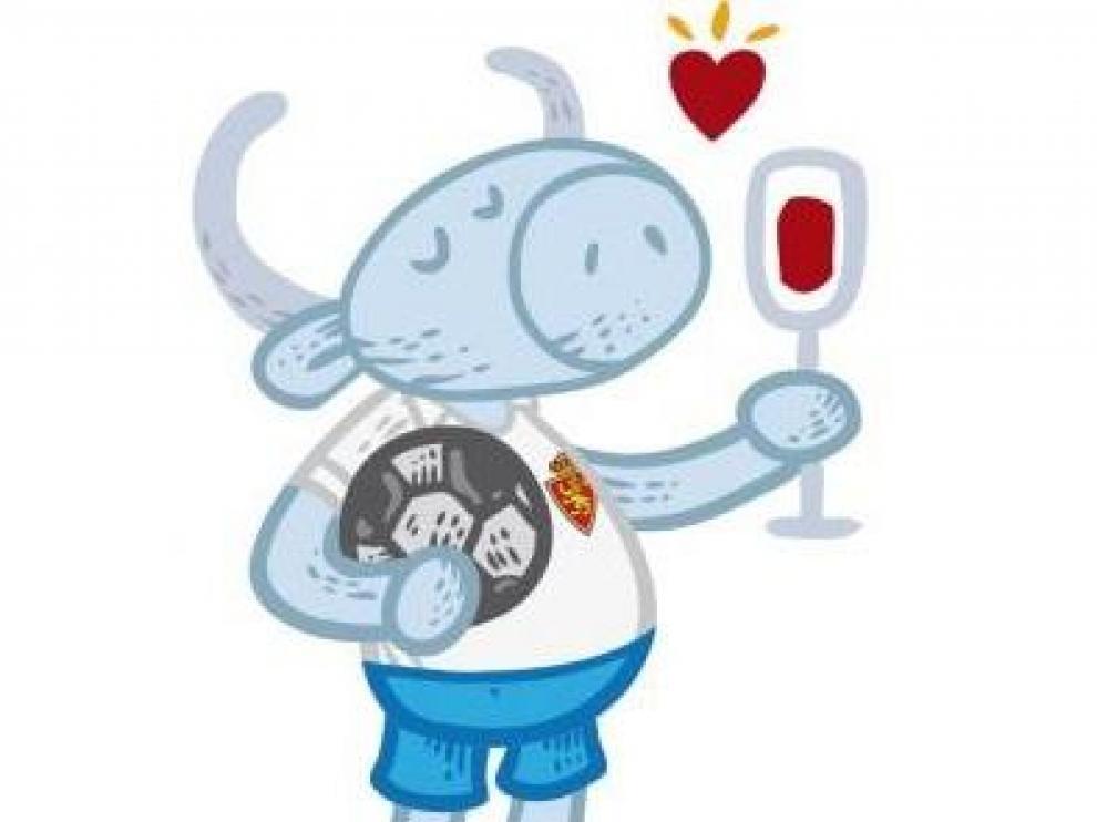 Ilustración de Antonio, el personaje de la etiqueta Beso de Vino ataviado con el uniforme zaragocista.