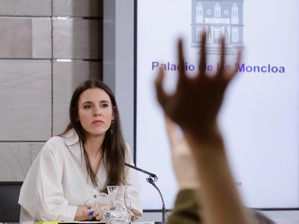 La ministra de Igualdad Irene Montero, durante la rueda de prensa posterior al Consejo de Ministros.