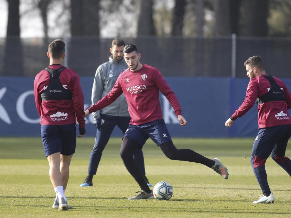 Imagen de Rafa Mir durante un entrenamiento de la SD Huesca