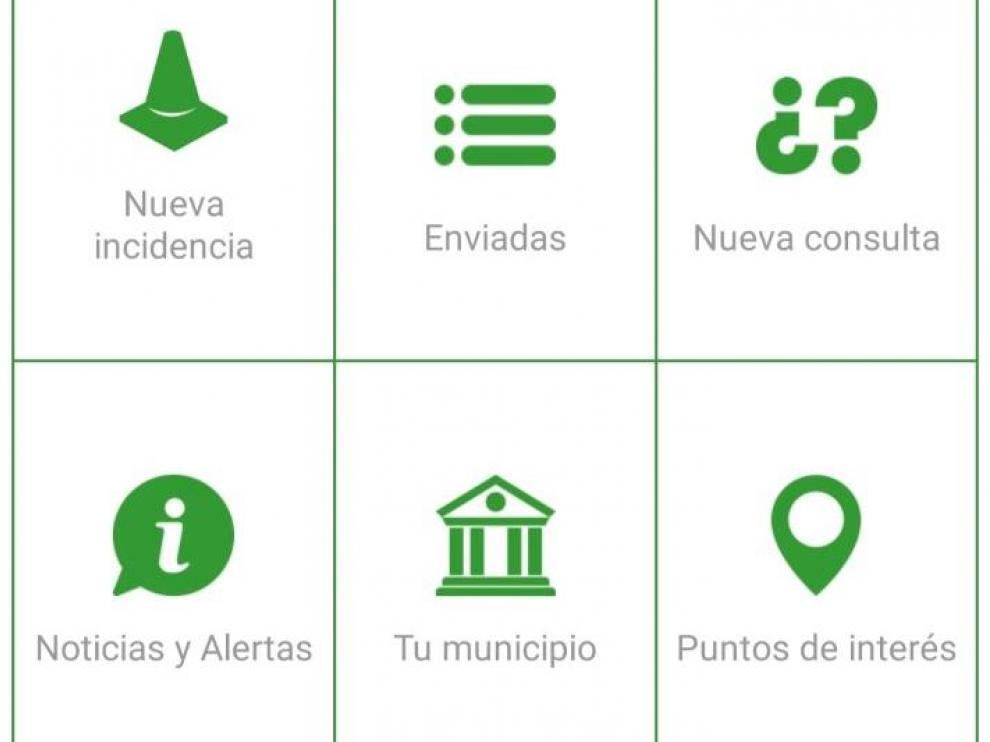 Interfaz de la aplicación Línea Verde para Alcorisa
