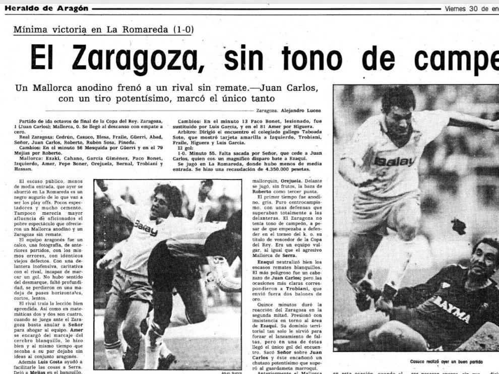 Cabecera de la crónica del partido Real Zaragoza-Real Mallorca de Copa del Rey jugado el 29 de enero de 1987 en La Romareda, el precedente de el de este martes, 21 de enero de 2020.