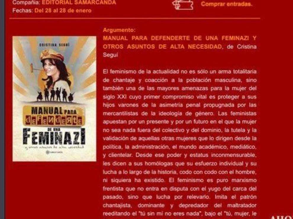 El anuncio de la presentación del libro de Cristina Seguí que ha sido retirado de la página web del Teatro Principal.