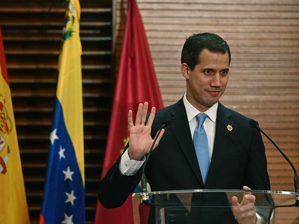Juan Guaidó durante su rueda de prensa en el Ayuntamiento de Madrid.