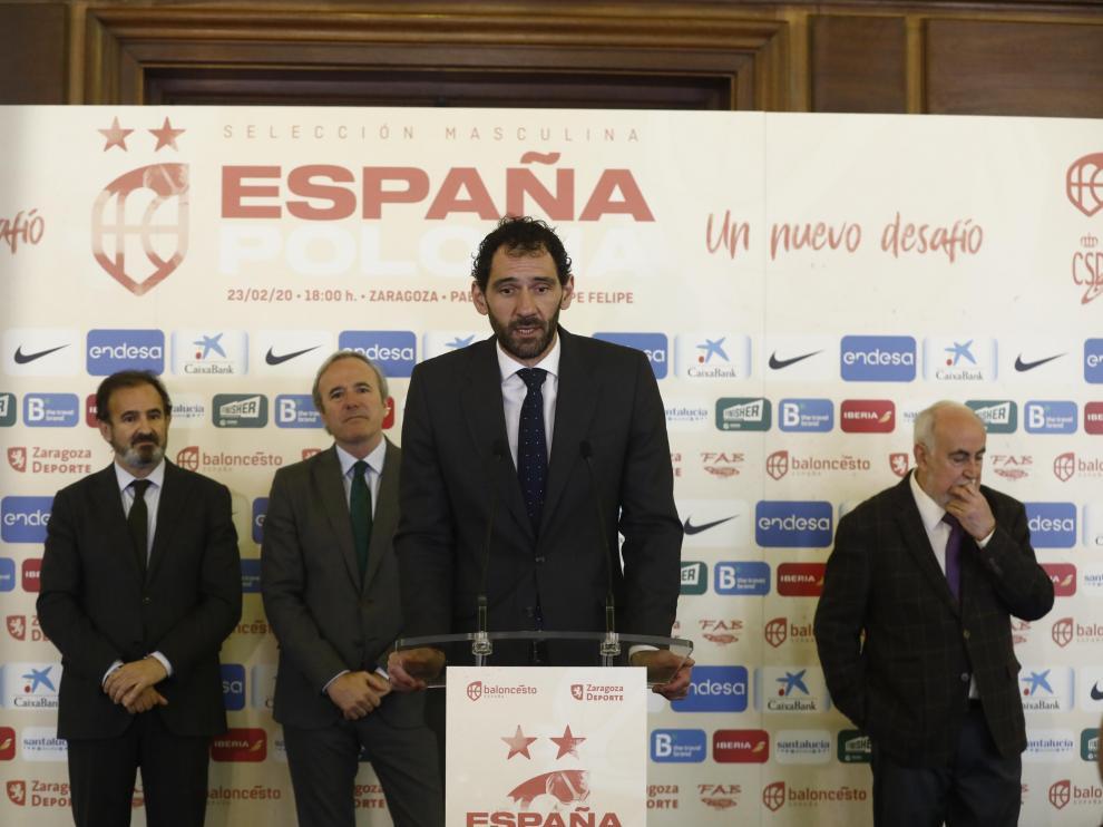 El presidente de la Federación Española de Baloncesto, Jorge Garbajosa, en la presentación del partido de la selección española contra Polonia, que se celebrará el 23 de febrero