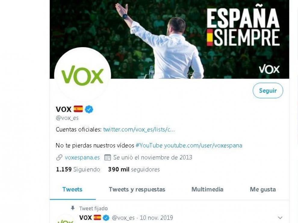 Una imagen de la cuenta de Twitter de Vox.