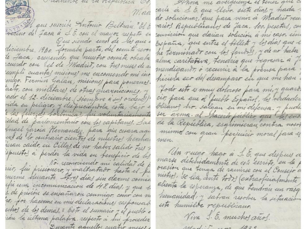 Carta de Antonio Beltrán, el Esquinazau, al presidente de la II República, Niceto Alcalá Zamora, en noviembre de 1932.